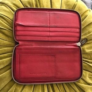 Marc Jacobs Red Leather Zip Wallet